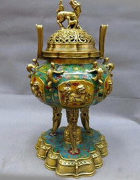 Brass censer online shopping - Bronze home decoration Brass Art copper quot China bronze gild Cloisonne censer Foo Dog Lion dragon incense burner Statue