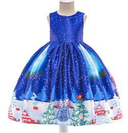 $enCountryForm.capitalKeyWord Australia - 2019A Christmas costume children's Christmas dress girl print skirt Santa Claus dress snowflake satin show dress