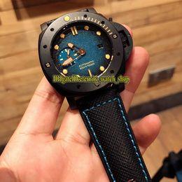 $enCountryForm.capitalKeyWord Australia - 47MM DLC Coated Titanium Metal Case Submersible PAM00985 Blue Dial Automatic Mens Watch Unidirectional rotation Bezel nylon Sport Watches