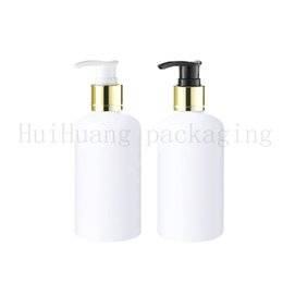 shampoo cream Australia - 100pcs 250ml white body cream gold collar screw lotion pump cosmetic plastic bottles,liquid soap shampoo bottle with dispenser