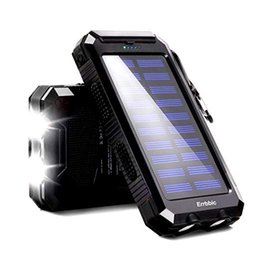 solar powered phone battery charger NZ - 20000mAh Solar Power Bank Waterproof Portable Backup Powerbank Mobile Phone Charger External Battery Pack for Xiaomi iPhone MI