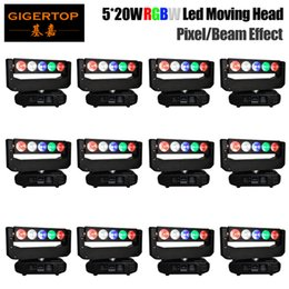 color spot lighting Canada - Freeshipping 12 units 130W Moving Head Light DJ Beam LED Spot Light with gobo color wheel Disco 5x20W RGBW Quad Color Pixel Control