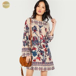 botanical prints NZ - Multicolor Lace Eyelet Flower Print Vacation Beach Dress Botanical Short Dresses Women Autumn Streetwear Tunic Mini Dress