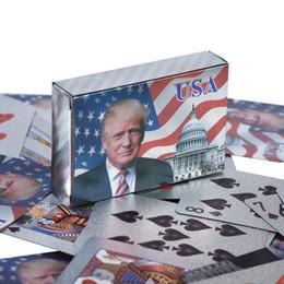 Donald Trump Pôquer US Presidente Baralho Ouro / Prata Folha Pokers Set com caixa DHL Shipping em Promoção