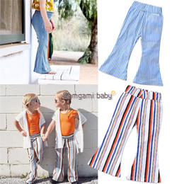 Lace print trousers online shopping - INS Spring Autumn Summer New Infant Toddler Baby Girls Bell Bottom Stretch Pants Long Trousers Children Infant Girl Striped Flare Pants