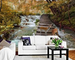 Autumn wAllpApers online shopping - wallpaper nature scenery autumn deer tv background wall living room bedroom background wall d wallpaper