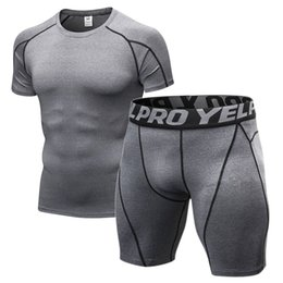 Wear Compression Shorts Australia - Men's Compression Gym Clothing Men Jogging Suits Sports Sets Fitness Clothes Black Tights Running T Shirt Shorts Gym Wear Men