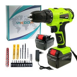 Lithium power batteries online shopping - 21V Cordless Drill Electric Screwdriver Rechargeable Two Lithium Battery Household DIY Multi function Power Tools Carton Plus Accessories