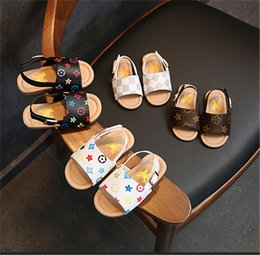 Discount floral print sandals - Fashion Designer Summer Baby Sandals Kids Boys PU Slippers First Walker Shoes Non-slip Shoes Floral Print Outdoor Beach