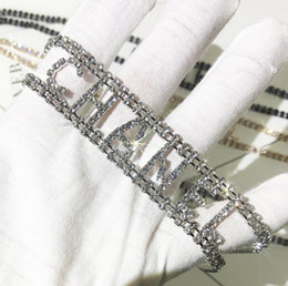 Wholesale Fashion Designer Chokers Necklace Bracelet with Crystal Brand Letters Style CZ Diamond Women Necklaces Bracelets Jewelry Silver Gold Colors