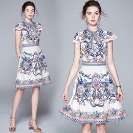 $enCountryForm.capitalKeyWord Australia - Fashion New Women's A Dresses,Lady's Beauty Printing Party Dress,Stand Collar Nice Sashes Waist-Closing Skirts