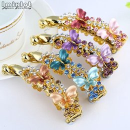 Wholesale Imixlot Girl Ponytail Banana Clip Crystal Rhinestone Butterfly Barrettes Hairpins Hair Clips Women Hair Accessories