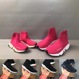Опт Balenciaga 2020 Дети Мода Ботильоны Speed Stretch Mesh Дизайнер кроссовки Speed Knit Носок Mid-Top Sneakers Speed Trainer детей ребенок кроссовок
