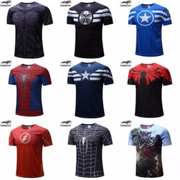 iron man flashing t shirt UK - Free shipping 2018 t-shirt Superman Batman spider man captain America  Hulk Iron Man   t shirt men fitness shirts men t shirts