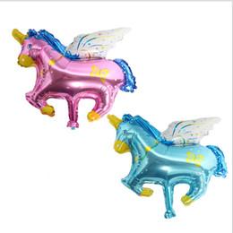 Horse Birthday Party Decorations Australia - 45*38cm Mini Unicorn Balloon Pegasus Horse Foil Balloons Baby Birthday Wedding Party animal Decoration helium globos