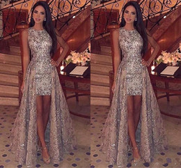 royal blue short formal dresses 2019 - Sparkly Sequins Sheath Short Prom Dresses 2019 Jewel Neck Sleeveless Formal Party Evening Gowns With Detachable Overskir