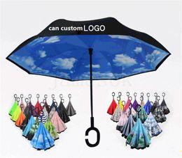 $enCountryForm.capitalKeyWord Australia - 56 Styles Folding Reverse Umbrella Double Layer C Handle Umbrellas Unisex Inverted Long Handle Windproof Rain Car Umbrellas Gifts dc590