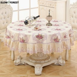 Cream Desks Australia - Slow Forest Round Tablecloth Living Room Tablecloth Pastoral Table Cover Waterproof Anti Hot Oil Apply To The Desk and Table