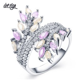 elegant stone designs 2019 - Deczign New Mixed Pastel Colors Zirconia Rings for Women Elegant Wedding Jewelry Pink Beige Leaves Fashion Design SJ3005