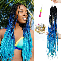 Braided Colored Hair Australia - Hot! 1Pcs Colored Box Braid Crotchet Braids 24Inch Synthetic Ombre Kanekalon Braiding Hair Extension 22Roots Blue Pink Bug