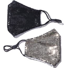 Wholesale 7STYLE Unisex Cotton Facial Protective Covers for Adult Fashion Sequin Face Mask Gold Black Fancy Dress Party Mask