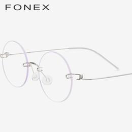 5aa13a29a6 FONEX Gafas sin tornillo Gafas graduadas para mujer 2019 Sin montura  Redonda Miopía Óptica de Titanio Coreano Gafas de Aleación Marco Hombres