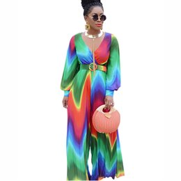 chiffon women jumpsuit wide leg NZ - Multicolored Women Jumpsuits Printing Chiffon Latern Long Sleeves V Neck Fashion Wide Leg Rompers with Belt Real Picture 2020 New