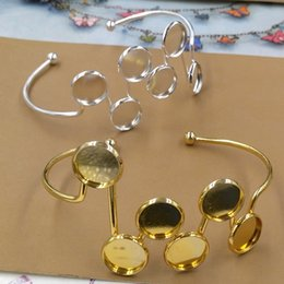 $enCountryForm.capitalKeyWord Australia - Fit 12MM DIY Gold silver round blank cuff bangle base jewelry fashion metal cuff bracelet tray wristband setting for women girl