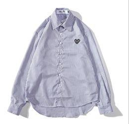 $enCountryForm.capitalKeyWord Australia - Fashion mens designer shirt classic small red heart PLAY brand luxury shirt men women high quality striped cotton shirts popular tops M-XXL