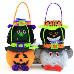 candy decoration buckets NZ - Halloween Party Decoration Props Children Pumpkin Candy Bag 25*11cm Halloween Gift Handbags Witch Cat Bat Round Candy Collection Bucket