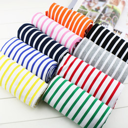 Stripe Fabric Dress Australia - Classic Summer Thin Cotton Yarn-dyed Stripes stretch Knit Lycra fabric For T-shirt Dress Sweater Cloth does not fade