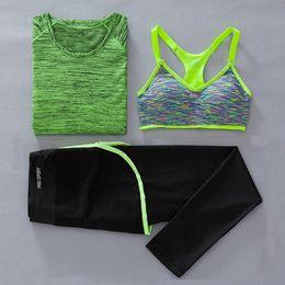 $enCountryForm.capitalKeyWord NZ - Women Sport fitness T-shirt+bra+pants three piece set Ladies yoga Gym running 3pcs sets