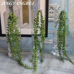 $enCountryForm.capitalKeyWord Australia - Artificial Succulents Pearls Fleshy Green Vine Flower Hanging Rattan Wall Artificial Flower Lover Tears Succulent Plants C19041302