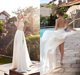 $enCountryForm.capitalKeyWord Australia - 2019 Cheap Lace Appliuqed Bohemian Wedding Dresses Sexy OPen Back Chiffon Halter Beach Boho Bridal Gown In Stock CPS231