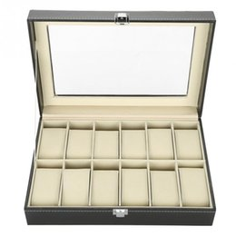 Proof Cases UK - 12 Grids PU Leather Watch Display Case Storage Box Organizer Watch Jewelry Display Box With Dust-proof Clear Glass Cover