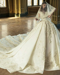 Castle Bling Wedding Dress Canada - 2019 Plus Size Lace Ball Gown Empire Waist Vintage Luxury Wedding Dresses Princess With Beads Bling Long Train Bridal Gowns