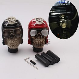 skull gear shift knobs Australia - Red Black Car Vehicle Sunglass Skull Style Car Gear Knob Handles Gear Shift Knob Manual Shifter Shift Lever Handbrake Cover