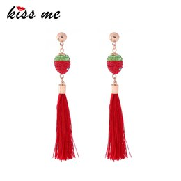 $enCountryForm.capitalKeyWord Australia - Cute & Fashion Rhinestone Red Strawberry Tassel Earrings Women Long Drop Earrings Christmas Jewelry