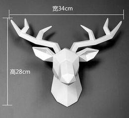 Venta al por mayor de Ins nórdico geométrico cabeza de ciervo decoración colgante de pared sala de estar creativa fondo pared animal colgante tridimensional