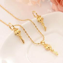 dubai gold pendants 2019 - african Habesha Set Ethiopia KEY pendant Necklace Earrings Gold Color Dubai Sudan women girls Wedding bridal jewelry Gif