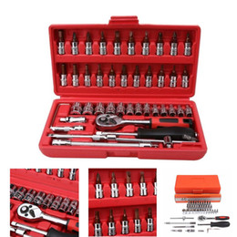 Car Chrome plating online shopping - 46Pcs Inch Socket Set Car Repair Tool Ratchet Torque Wrench Combo Tools Kit Auto Repairing Chrome Plated Car Repairing Tool