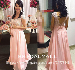 $enCountryForm.capitalKeyWord Australia - Maternity Lace Beaded Arabic Evening Dresses With Cap Sleeves Pink Chiffon Long Prom Dresses Elegant Formal Party Bridesmaid Pregnant Gowns