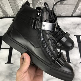 Metal Sneakers Australia - US4-11 Mens Sports Sneakers Metal Sheet Zipper High Top Boots Shoes Casual Genuine Leather Round Toe Lace Up Plus Size Unisex