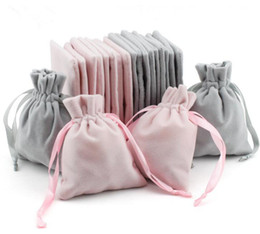 cosmetic drawstring bags Canada - Packaging Proof Crafts Bags With Cord Cosmetic Dust Pouches Jewellery Drawstring Velvet Jewelry Retail Gift For Boutique Storage Shop Axwga