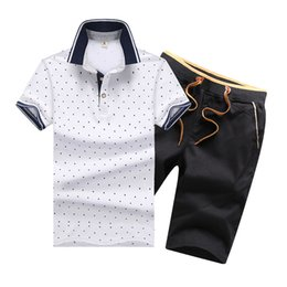 Men chaMpagne suits online shopping - Summer Mens Tracksuit Printed Homme Sportsuit Men Lapel Neck Short Sleeves Pullover With Casual Jogger Pants Suits