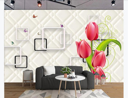living packs Australia - Butterfly Love Flower Beautiful Lily HD Soft Pack Stereoscopic Mural Wallpaper For Living room TV Sofe Background Wall Paper Home Decor