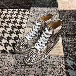 $enCountryForm.capitalKeyWord Australia - Elegant Designer Python Leather With Spikes Red Bottom Sneaker Shoes For Women,Men Luxury Studs Casual Walking High Quality Leisure Flats X