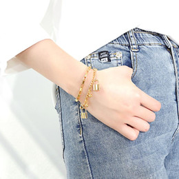 Wholesale awesome gifts online – design women s Awesome Gifts Gold High Quality stainelss steel Charms bracelet Box Link Chain Lock Ball charms bracelet