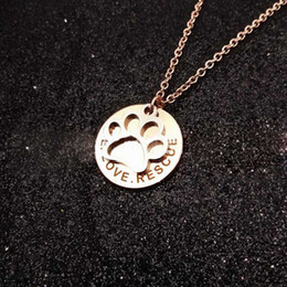 Wholesale Paw Print Australia - Paw print Pendant Silver  Gold  Rose go Silver  Gold  Rose gold Pendant pet Dog Accessories Pendant Stainless Steel Commemorate Pet Necklace