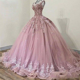 Glitter Sequins Cinderella Prom Quinceanera Dresses Ball Gown 2020 Blush Pink Applique Crystal Beaded Draped Vestidos De Party Sweet 15 on Sale